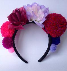 Festival Headband Pom Pom Crown Flower by MarjorieandJune on Etsy, £12.95