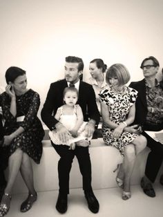 Adorable! Spotted at Victoria Beckham's show at NYFW!#annawintour #davidbeckham