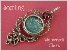 Shipwreck Glass - Sterling Silver Tourmaline Gemstone Silver Rope Pendant - Blue Iridescent Bottle Glass - Roman Ancient - FREE SHIPPING (49.00 USD) by FindMeTreasures