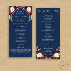 Navy Wedding Program Order of Ceremony Marsala by InkAndVeil