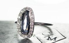 1.1 Carat Glowing Blue Sapphire Ring with Diamond Halo - CHINCHAR•MALONEY