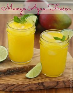 Mango Agua Fresca Recipe  Serves 2    Ingredients    1 ripe mango, peeled, pitted and cut into chunks    1 1/2 cup cold water    1/2 teaspoon freshly squeezed lime juice    1/2 teaspoon agave nectar or honey, more or less to taste    Lime wedge and mint leaves for garnish    Instructions    In a blender, combine mango and water and blend until smooth. Pour through a strainer into ice-filled glasses. Stir in lime juice and agave. Garnish with lime and mint