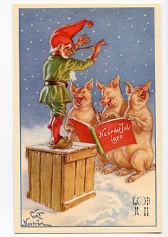 Jaanas Gut o Mixed - Vintage Christmas Cards, Vintage Cards, Vintage Postcards, Norwegian Christmas, Scandinavian Christmas, Merry Christmas And Happy New Year, Christmas Elf, Christmas 2017, Holiday
