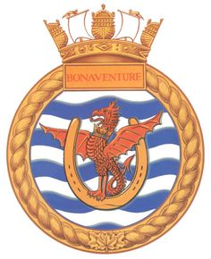 HMCS Bonaventure (CVL was a Majestic class aircraft carrier. She served in the Royal Canadian Navy and Canadian Forces Maritime Command from 1957 to 1970 Royal Canadian Navy, Royal Navy, Navy Badges, Navy Carriers, Naval, Military Insignia, Navy Ships, Crests, Aircraft Carrier