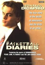 The Basketball Diaries. In one of his first leading roles as a young adult, DiCaprio portrayed high school basketball player and heroin addict Jim Carroll. Mark Wahlberg is in this movie too! Bruno Kirby, Actor Mark Wahlberg, Leonardo Dicaprio Kate Winslet, Ernie Hudson, Basketball Diaries, Billy Zane, High School Basketball, Movies Worth Watching, Movie List
