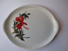 Vintage Crooksville Hibiscus Gray-Lure Red Green by thechinagirl