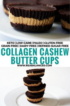 Collagen Cashew Butter Cups: keto low-carb paleo gluten-free grain-free dairy-free and refined-sugar-free! Dessert For Dinner, Paleo Dessert, Delicious Desserts, Dessert Recipes, Candy Recipes, Snack Recipes, Trifle, Sin Gluten, Grain Free