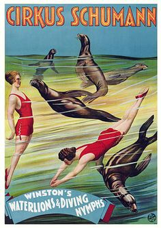 Winston's Waterlions & Diving Nymphs. 1922 http://www.vintagevenus.com.au/products/vintage_poster_print-c241