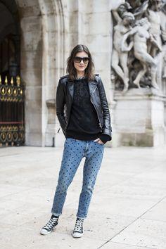 Paris Fashion Week Style Fashion Moda PFW heelsandpeplum leather jacket Converse Isabel Marant dotted jeans