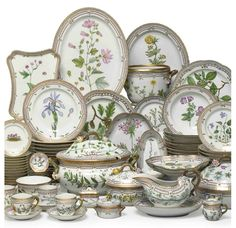 Royal Copenhagen Flora Danica porcelain set, originally created by one of the greatest porcelain painters Johann Christoph Bayer in 1790, was commissioned by King Christian VII to the Royal Copenhagen Porcelain Manufactory as a gift to Tsarina Catharine II of Russia. Catherine the Great died in 1796, before the design of the 1,802 pieces, which took a total of 12 years to bring to whole, was completed. ~
