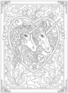 Dover Coloring Pages, Unicorn Coloring Pages, Animal Coloring Pages, Adult Coloring Pages, Free Coloring, Coloring Books, Ac Moore Crafts, Dover Publications, Horse Art
