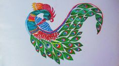 Cushion Cover Designs, Pillow Cover Design, Hand Embroidery Flowers, Hand Embroidery Designs, Border Design, Line Design, How To Dr, Peacock Drawing, Feather Stitch