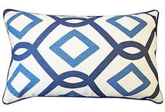 One Kings Lane - Summer Breeze - Maurice 12x20 Linen Blend Pillow, Blue
