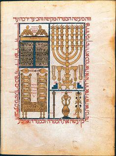Ben Raphael, Solomon, Bible de Perpignan, Royaume de Majorque, 1299. BnF, Manuscrits orientaux, hébreu 7, fol. 13v: Sanctuary Vessels.