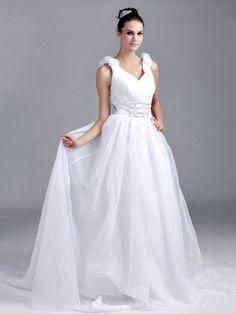 A-line Straps Organza Satin Chapel Train White Flower(s) Wedding Dresses at Pickeddresses.com
