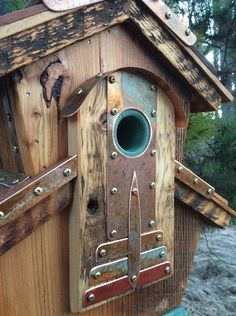 The Abbey Split Level Birdhouse is made from authentic reclaimed barnwood obtained near my home in Western Wyoming in the Valley of Grand Teton National Park. My forest home is the inspiration for my unique one of a kind functional Birdhouses. My Birdhouses are made to specification