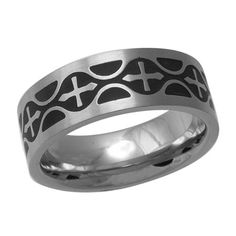 Mens 7.0mm Black Ion-Plated Cross Wedding Band in Stainless Steel - Zales