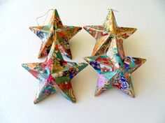 Star Ornaments Boho Christmas Ornaments by DulcetWhimsy on Etsy