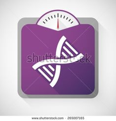 Illustration of a weight scale with a DNA sign