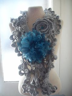 INSPIRATION~Long sea shells gray crochet scarf with blue organza flower brooch and crochet rose brooch