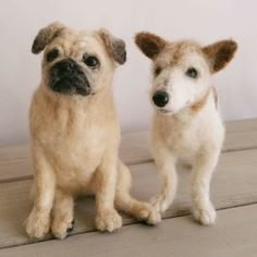 These two pups were needle felted from customer photos