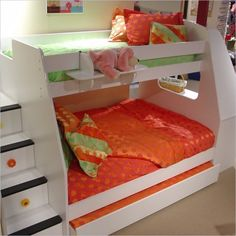 Wooden Twin Over Full Bunk Beds With Stairs For Kids