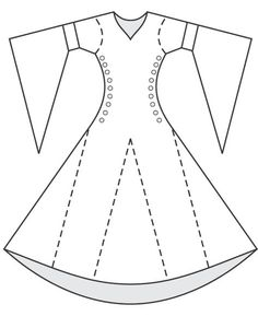 DRESS pattern bliaud - site has some good line drawings of shapes of different pieces Ward Ward Ward Ward James - I think we like this for you. Medieval Fashion, Medieval Clothing, Historical Clothing, Barbie Clothes, Sewing Clothes, Diy Clothes, Costume Patterns, Dress Patterns, Sewing Patterns