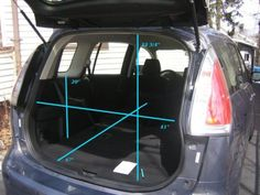 "Cargo dimensions of Mazda5length with 2nd row folded: 67"" height to bottom of rear window: 20"" height of rear opening: 33 3/4"" width of rear opening: 41"""