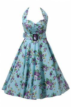 Bunny - BUNNY 50s Retro halter May Day swing dress aqua jurk