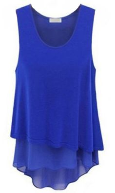 Blue Sleeveless Ruffles Chiffon Tank Dress - Sheinside.com  Same--great blouse!  Maybe a little short for a dress.....just saying!