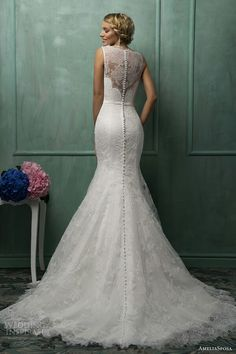 """Lace Mermaid Gown With Illusion Neckline & Back; """"Helena"""" by AmeliaSposa Bridal 2014>>>>"""