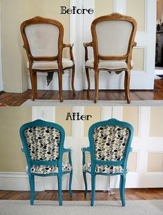 Craigslist DIY Chair Makeover- Painted, Glazed, and Upholstered- Back by TheatreDork25, via Flickr