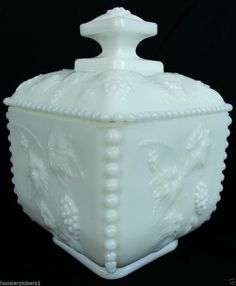 Westmoreland paneled grape covered low Footed candy jar milk White glass signed