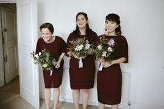 Burgundy Reiss Bridesmaid Dresses - Ruth Atkinson Photography | Autumnal Wedding at St JOHN restaurant in London | Delphine Manivet Prospere Wedding Dress | Burgundy Reiss Bridesmaid Dresses
