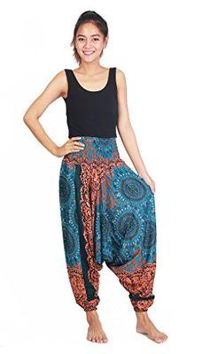fb8cf230672d Chinrada Shop Women s Aladdin Harem Jumpsuit Smocked Waist Circle Pants