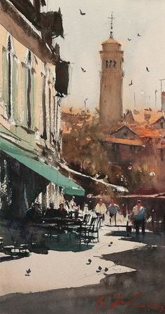 Campo San Margarita, Venice - Watercolor by Joseph Zbukvic Watercolor City, Watercolor Artists, Watercolor Artwork, Watercolor Landscape, Watercolor Illustration, Urban Landscape, Landscape Art, Landscape Paintings, Landscapes
