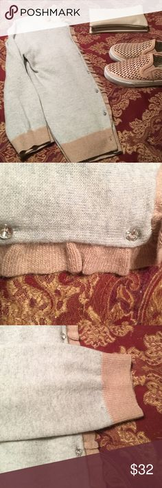 EUC J Crew Cardi Super soft material. Beautiful rhinestone buttons, grey and tan colors. Sleeves are 3/4 length, they stop just above my wrists. EUC, very minimal pilling if any. Great layering piece over a chambray shirt. Make this a staple in your closet!! Fits true to size! Smoke free home.  Questions just ask! J Crew Sweaters Cardigans