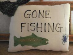 Primitive Folk Art Pillow Tuck GONE FISHING Wall Hanger Father's Day Sign #NaivePrimitive #auntiemeowsatticprims