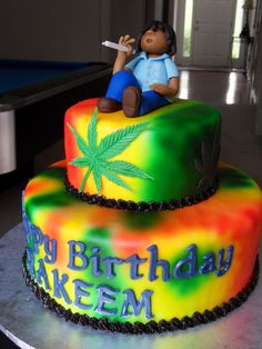 420 Shirts: 420 & Marijuana Clothing,Weed Shirts, T-Shirts and Accessories. Shop cannabis t-shirts created by independent artists from around the globe. Weed Birthday Cake, 19th Birthday Cakes, Hubby Birthday, Adult Birthday Cakes, 21st Birthday, Crazy Cakes, Cupcakes, Cupcake Cakes, Rasta Cake