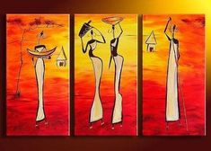 Bedroom Wall Art, African Woman Painting, African Girl Painting, Extra Large Art, 3 Piece Wall Art - Silvia Home Craft Buy Paintings Online, Canvas Paintings For Sale, Online Painting, 3 Piece Canvas Art, 3 Piece Wall Art, Canvas Wall Art, Large Canvas, Painting Of Girl, Hand Painting Art