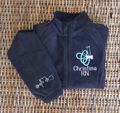 New!! Nurse Scope-Alphabet Fleece Jacket, Front & Cuff,  2 Day Shipping!! by StitchedInStyle1 on Etsy