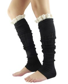 Amazon.com: FANDAI Women's High Knit Crochet Lace Trim Leg Warmers Multi-Color for Your Choice. Like all colors
