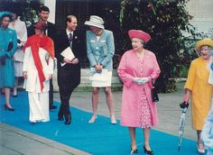 Diana with the Queen Mother, The Queen, and Prince Edward at Viscount Linleys wedding 1993