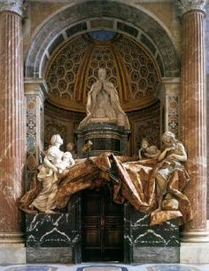 Tomb of Pope Alexander (Chigi) VII - Gian Lorenzo Bernini.  1671-78.  Marble and gilded bronze.  Over life-size.  St. Peter's Basilica, Vatican City.