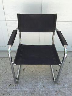 Unsigned Arper Italian Black Leather Chrome Chair Vintage Mid Century Modern