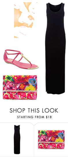 """""""pink sandals"""" by cmjustice21 ❤ liked on Polyvore featuring Dolce Vita, Warehouse, Nexus, black maxi dress, d v by dolce vita sandals pink and floral clutch"""