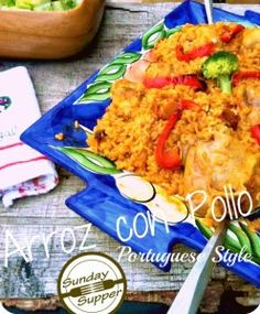 One Pot Arroz con Pollo Portuguese style - this can be done with instant rice but don't add it until maybe 10 minutes before you are done cooking otherwise it turns to mush.