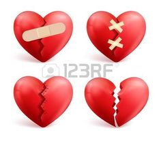 heart: Broken hearts vector set of 3d realistic icons and symbols in red color with wound, patches, stitches and bandages isolated in white background. Vector illustration. Illustration