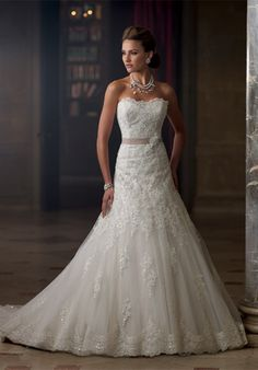 David Tutera for Mon Cheri 213261 Charlene $1,688 | Silhouette: A-Line Neckline: Strapless, Sweetheart Waist: Dropped Gown Length: Floor Train Style: Attached Train Length: Chapel Sleeve Style: Strapless Fabric: Tulle Embellishments: Beading, Lace ...