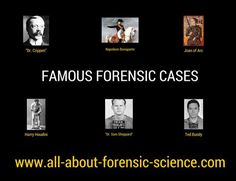 Famous forensics. Click on image or Go Here --> www.all-about-forensic-science.com/famous-forensic-cases.html to learn about famous forensic cases featuring high profile trials and major historical figures. #ForensicScience #forensics #CSI